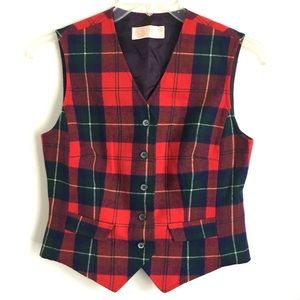 Vtg Pendleton Virgin Wool Plaid Vest Sz 12